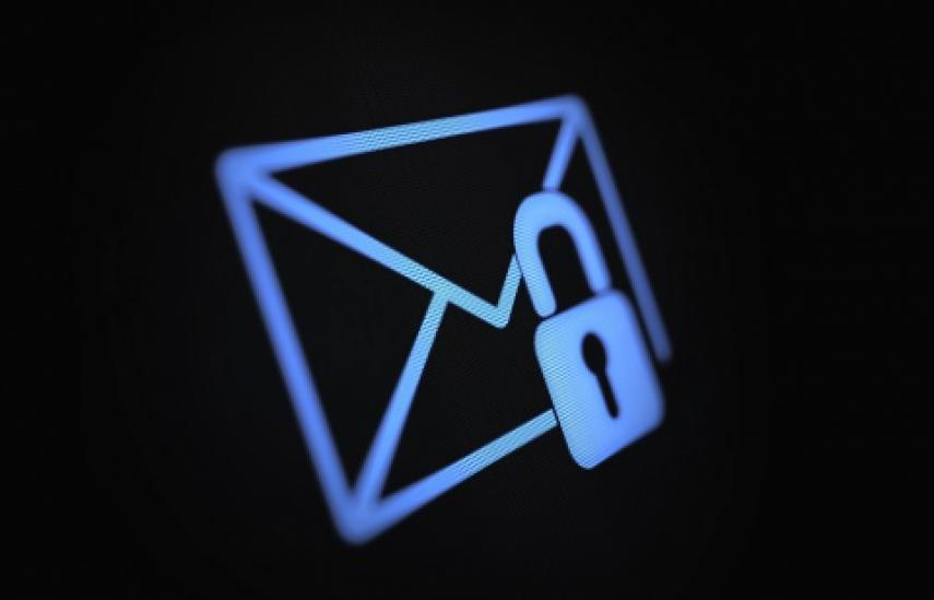 blue email symbol with padlock on black screen
