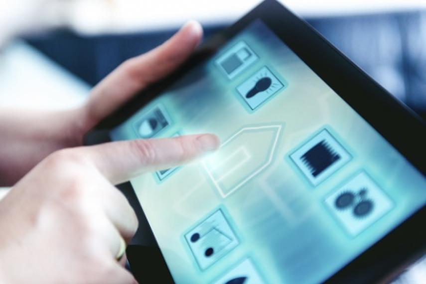 finger pressing lock on tablet